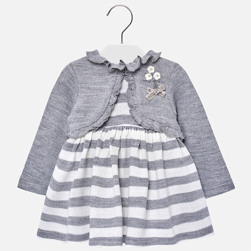 Mayoral Baby Girls Striped Dress - Silver