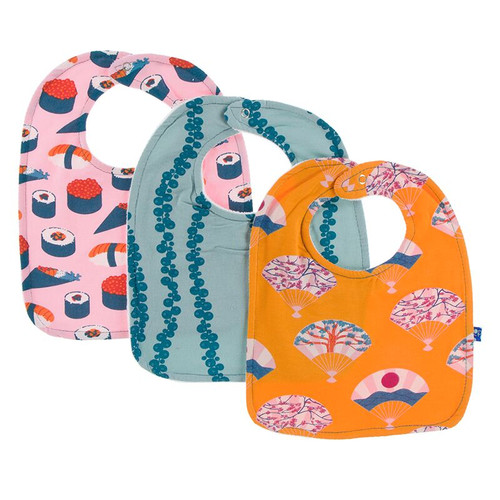 Kickee Pants Bib Set of 3 - Lotus Sushi, Jade Sea Grapes & Apricot Fans