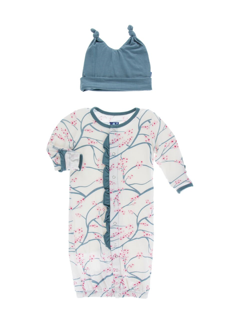 Kickee Pants Ruffle Layette Gown Converter & Double Knot Hat Set - Natural Japanese Cherry Tree