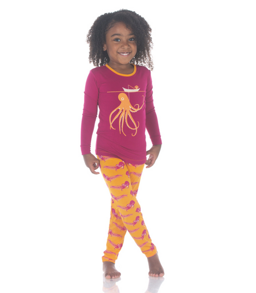 Kickee Pants Print Long Sleeve Pajama Set - Apricot Octopus