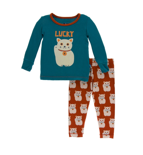 Kickee Pants Print Long Sleeve Pajama Set - Lucky Cat
