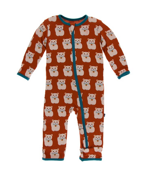 Kickee Pants Print Coverall with Zipper - Lucky Cat