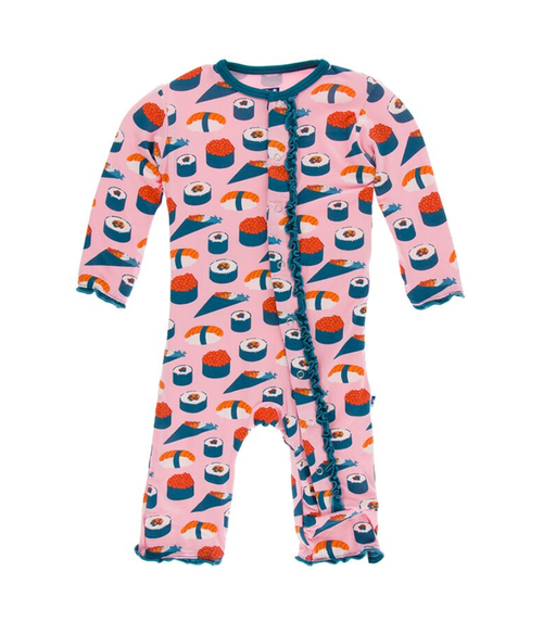 Kickee Pants Print Muffin Ruffle Coverall with Snaps - Lotus Sushi