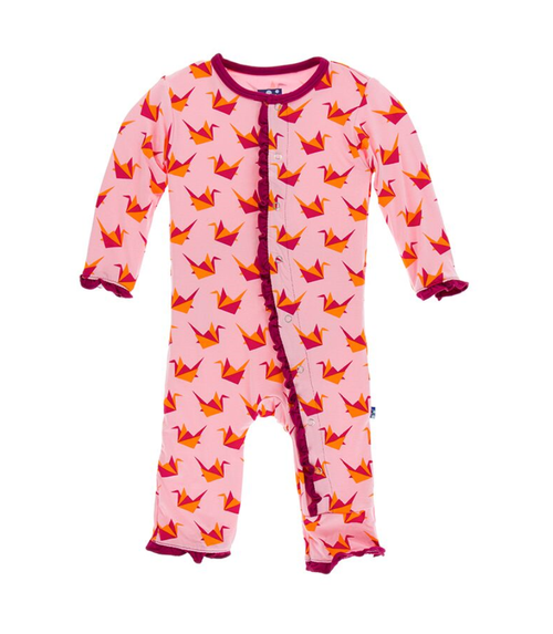 Kickee Pants Print Layette Classic Ruffle Coverall with Snaps - Lotus Origami Crane