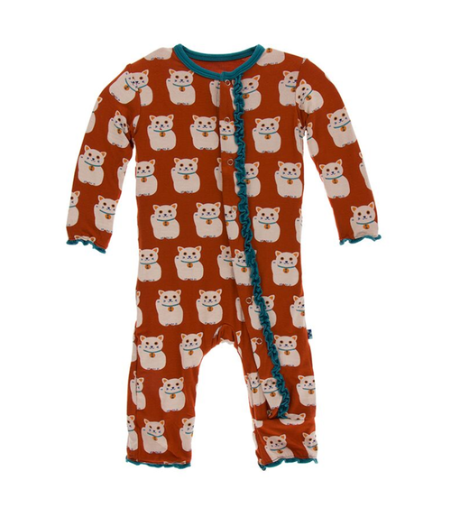 Kickee Pants Print Muffin Ruffle Coverall with Snaps - Lucky Cat