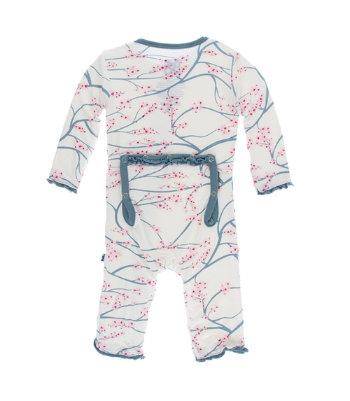 Kickee Pants Print Muffin Ruffle Coverall with Zipper - Natural Japanese Cherry Tree with Dusty Sky Trim