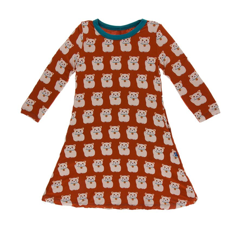 Kickee Pants L/S Tee Shirt Dress - Lucky Cat