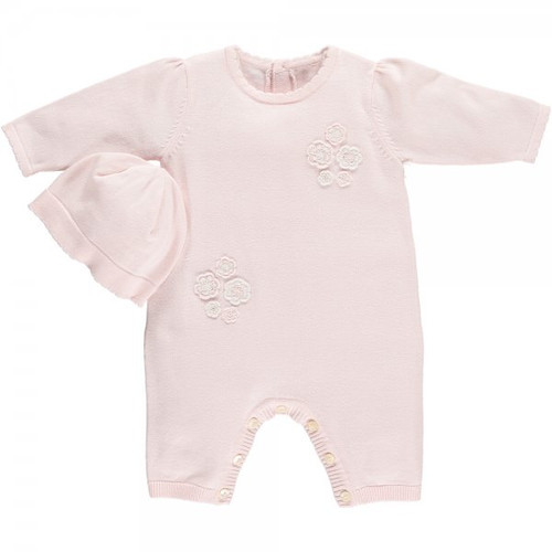Emile et Rose Pink Knitted Romper and Hat - Felicia