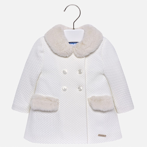 Mayoral Girls Faux Fur Coat - Off-White