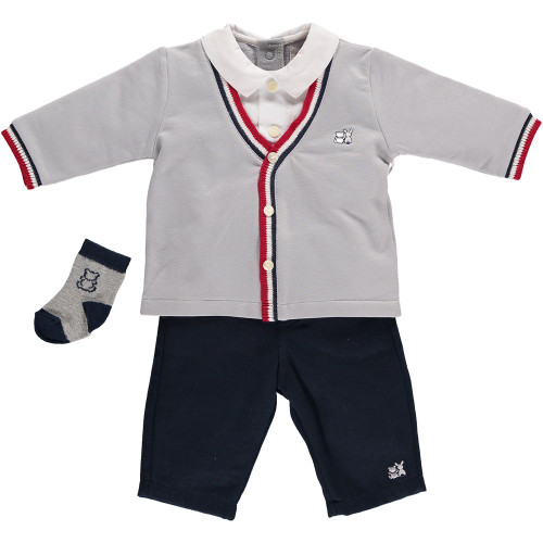 Emile et Rose Gray Fr. Terry Top & Mini Rib Trousers Set - Floyd