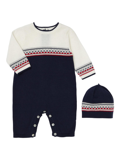 Emile et Rose Navy Sweater Knit Coverall and Hat - Fernando
