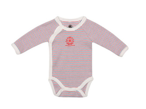 Petit Bateau Long Sleeve Striped Side Snap Bodysuit - Saline