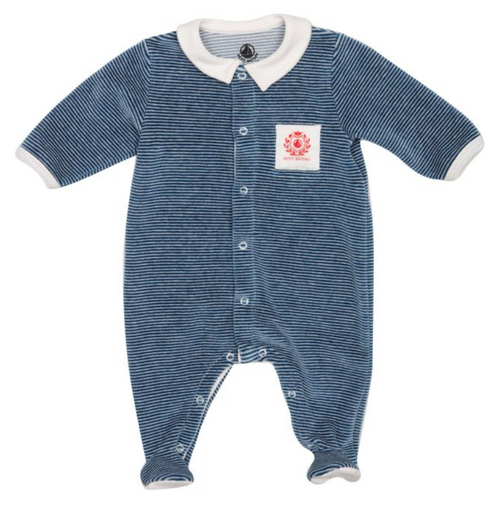Petit Bateau Velour Striped Front Snap Footie