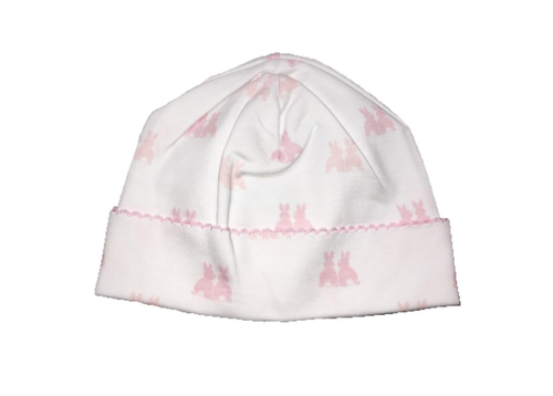 Kissy Kissy 100% Peruvian Pima Cotton Pink Cottontail Duo Print Hat - Small