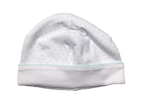 Kissy Kissy 100% Peruvian Pima Cotton Green New Kissy Dots Print Hat - Small