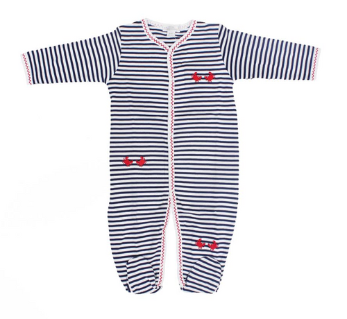 Kissy Kissy 100% Peruvian Pima Cotton Red Crabby Stripe Footie