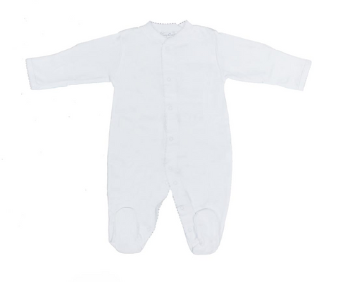 Kissy Kissy 100% Peruvian Pima Cotton White Basic Footie