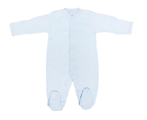 Kissy Kissy 100% Peruvian Pima Cotton Light Blue Basic Footie