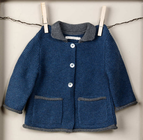 TANE Link Stitch Cardigan - Lapis+Charcoal