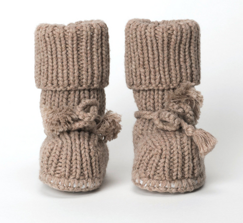 TANE Sock Booties with Ties - Earth