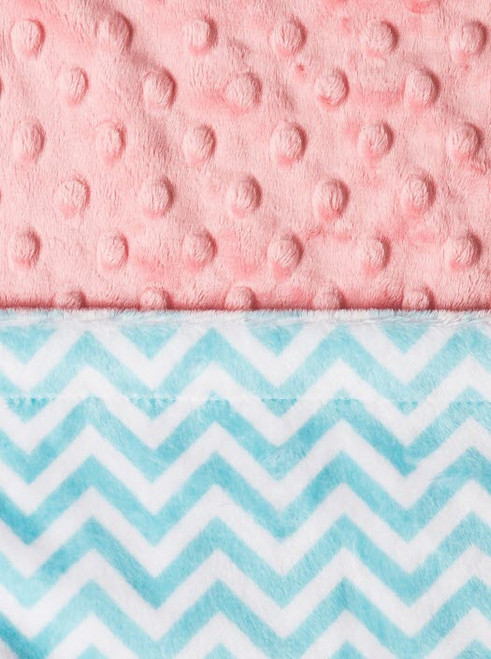 Baby Laundry Double Sided Minky Blanket - Topaz Mini Chevron / Coral Bump