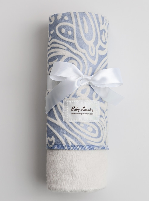 Baby Laundry Double Sided Minky Swaddler - Blue & White