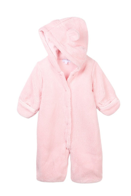 Le Top Baby Pink Hooded Plush Safari Snuggle Bag