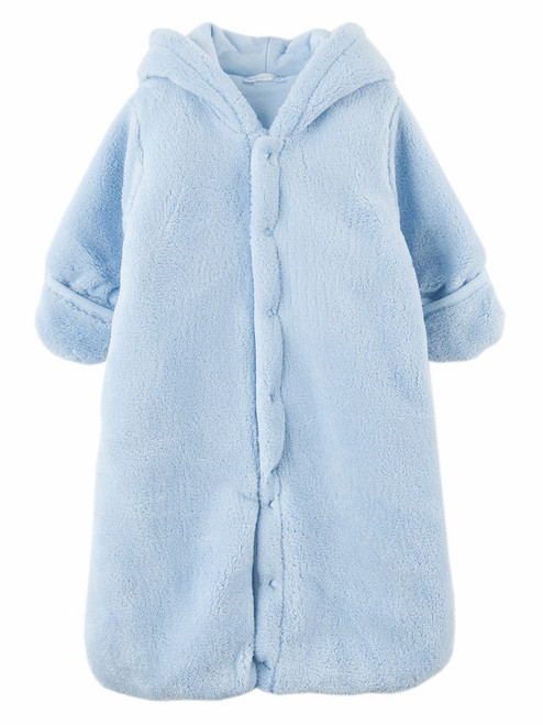 Le Top Baby Blue Hooded Plush Safari Snuggle Bag