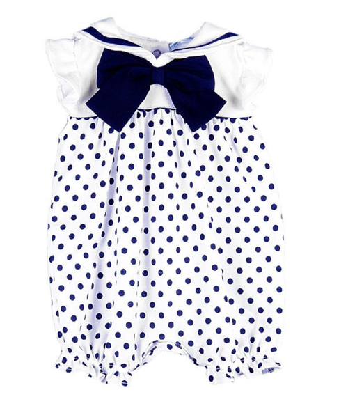 Le Top Polka Dot Bubble with Nautical Collar & Washable Silk Bow