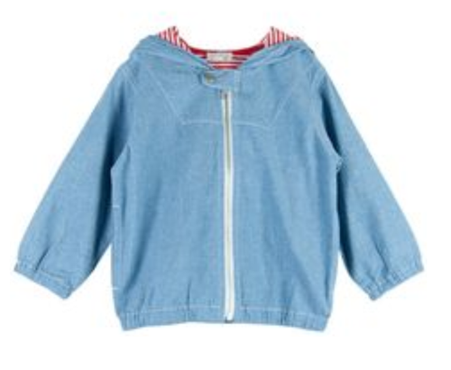 Le Top Chambray Hoodie with Zip Front