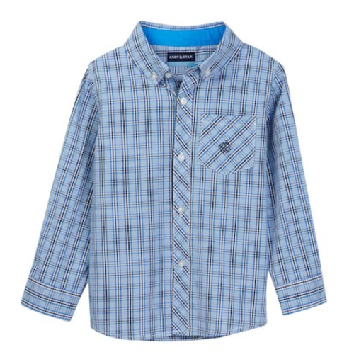 Andy & Evan Any Given Chambray Check Shirt - Blue