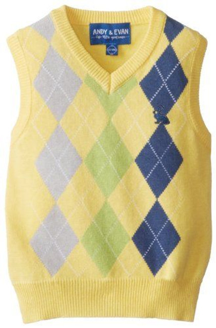 Andy & Evan Diamond Check Sweater Vest - Yellow