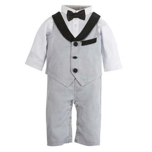 My First Andy & Evan Tuxedo Playsuit - Grey Oxford