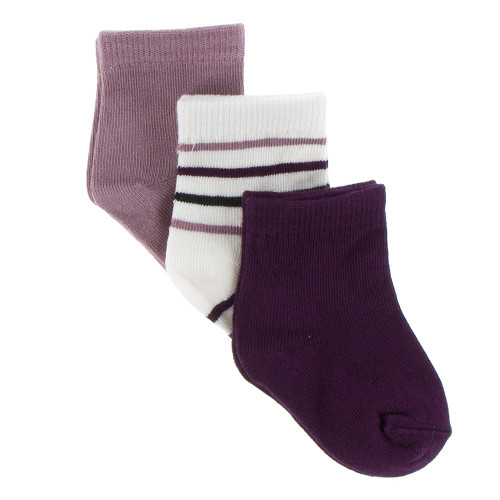 KicKee Pants Sock Set of 3 - Raisin, Tuscan Vineyard Stripe, Wine Grapes