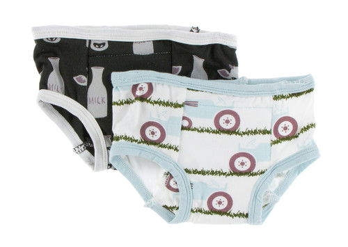 Kickee Pants Training Pants Set of 2 - Zebra Tuscan Cow & Natural Tractor and Grass