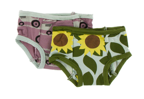 Kickee Pants Training Pants Set of 2 - Raisin Tractor and Grass & Aloe Sunflower