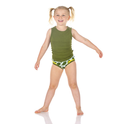 Kickee Pants Girl Underwear Set of 2 - Aloe Sunflower & Raisin Tractor and Grass