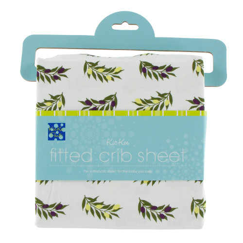 Kickee Pants Print Fitted Crib Sheet - Natural Olive Branch