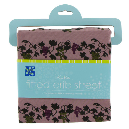 Kickee Pants Print Fitted Crib Sheet - Raisin Grape Vines