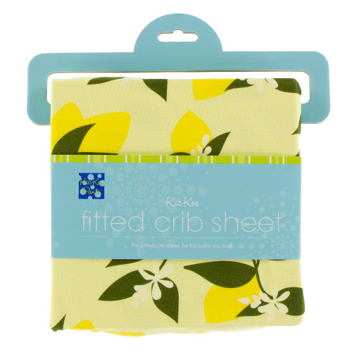 Kickee Pants Print Fitted Crib Sheet - Lime Blossom Lemon Tree