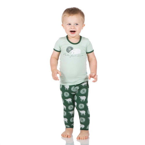 Kickee Pants Print Short Sleeve Pajama Set - Topiary Tuscan Sheep