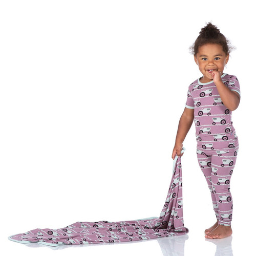 Kickee Pants Print Short Sleeve Pajama Set - Raisin Tractor and Grass