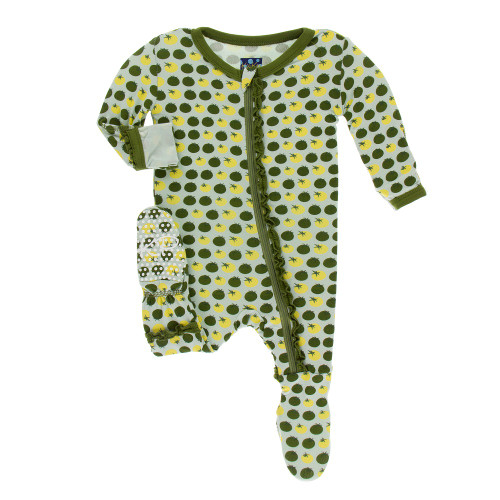 Kickee Pants Print Muffin Ruffle Footie with Zipper - Aloe Tomatoes