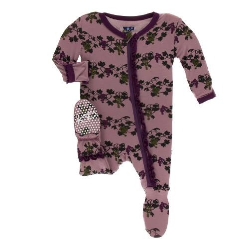 Kickee Pants Print Muffin Ruffle Footie with Zipper - Raisin Grape Vines