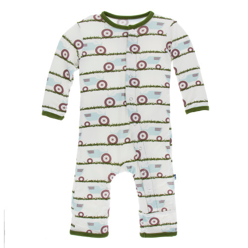 Kickee Pants Print Coverall with Snaps - Natural Tractor and Grass