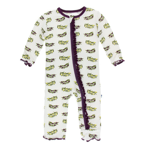 Kickee Pants Print Muffin Ruffle Coverall with Zipper - Natural Olive Branch