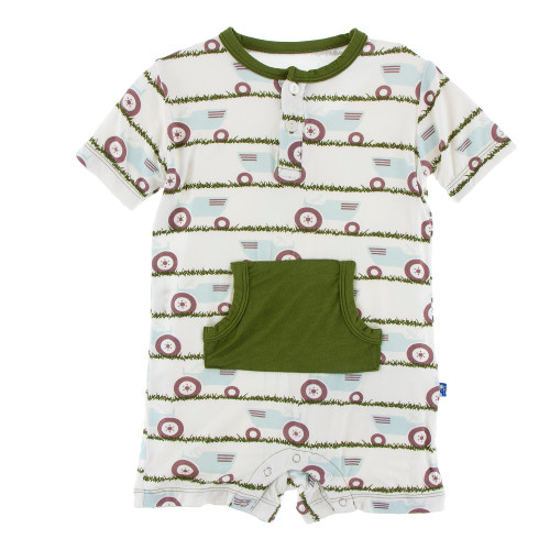 Kickee Pants Print Kangaroo Romper - Natural Tractor and Grass
