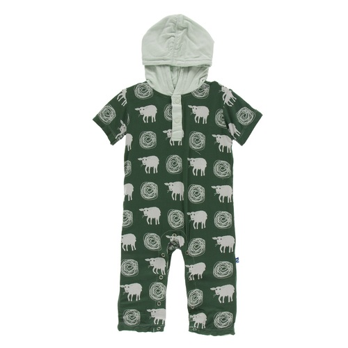 Kickee Pants Print Hoodie Romper - Topiary Tuscan Sheep