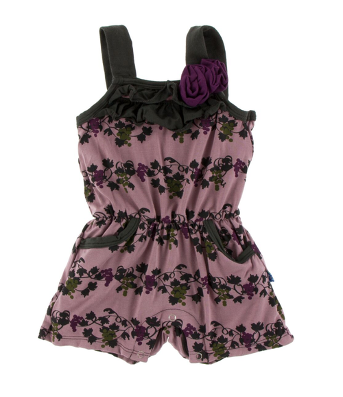 Kickee Pants Print Flower Romper with Pockets - Raisin Grape Vines