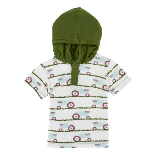 KicKee Pants Print Short Sleeve Hoodie Tee - Natural Tractor and Grass